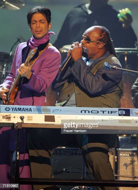 Musicians Prince and Stevie Wonder perform onstage at the 2006 BET Awards at the Shrine Auditorium on June 27 2006 in Los Angeles California