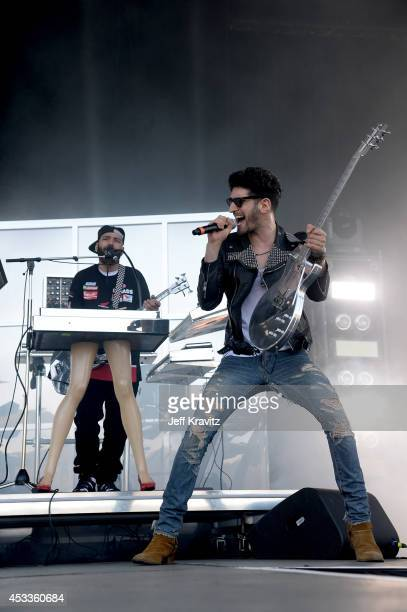 Musicians PThugg and Dave 1 of Chromeo perform at the Lands End Stage during day 1 of the 2014 Outside Lands Music and Arts Festival at Golden Gate...