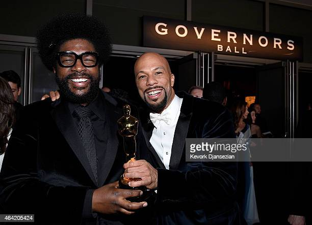 Musicians Questlove and Common winner of Best Original Song for 'Glory' attend the 87th Annual Academy Awards Governors Ball at Hollywood Highland...