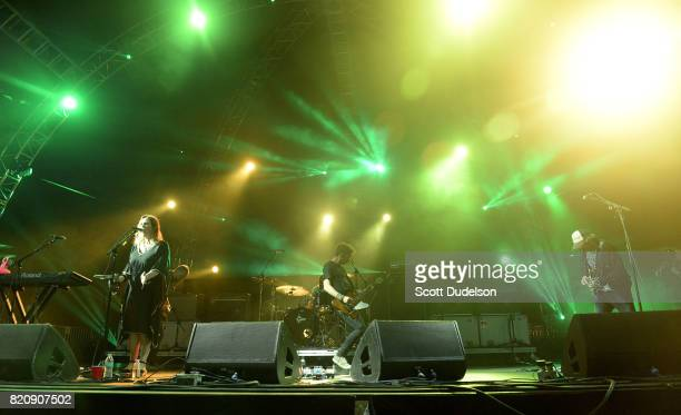 Musicians Rachel Goswell Nick Chaplin and Neil Halstead of Slowdive perform onstage during FYF Festival on July 21 2017 in Los Angeles California