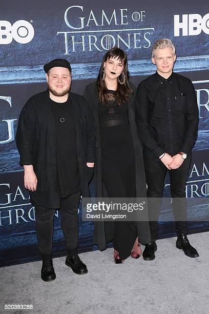 Musicians Ragnar Porhallsson Brynjar Leifsson and Nanna Bryndis Hilmarsdottir of Of Monsters and Men arrive at the premiere of HBO's Game of Thrones...