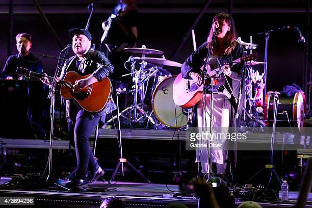 Musicians Ragnar Thorhalisson and Nanna Bryndis Hilmarsdottir of Of Monsters and Men performs onstage at the KROQ Weenie Roast Y Fiesta 2015 at...