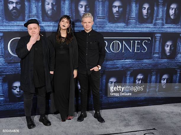 Musicians Ragnar Thorhallsson Brynjar Leifsson and Nanna Bryndis Hilmarsdottir Of Monsters and Men arrive at the premiere of HBO's Game Of Thrones...