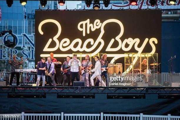 Musicians Randy Leago, Bruce Johnston, Brian Eichenberger, Tim Bonhomme, Keith Hubacher, Mike Love, Christian Love, John Stamos, Scott Totten, and...