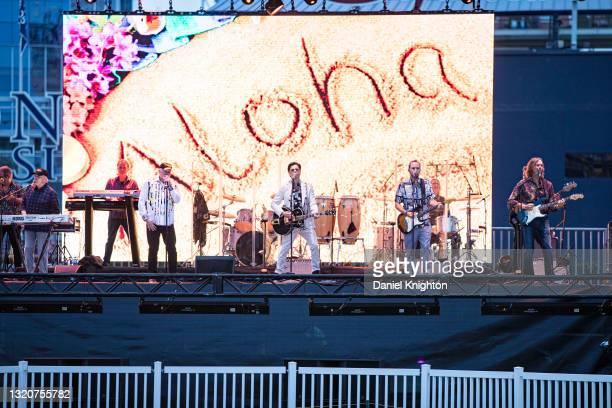 Musicians Randy Leago, Bruce Johnston, Tim Bonhomme, Mike Love, John Stamos, Christian Love, John Cowsill, Keith Hubacher, and Scott Totten of The...
