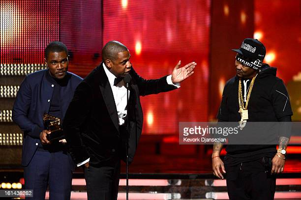 Musicians rank Ocean JayZ and TheDream accept Best Rap/Sung Collaboration award for 'No Church in the Wild' onstage at the 55th Annual GRAMMY Awards...
