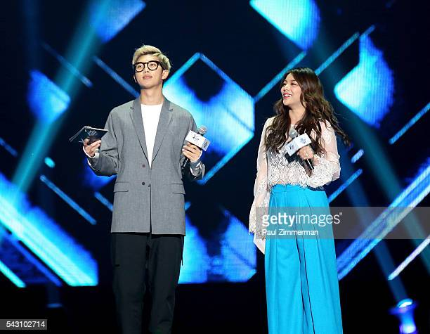 Musicians Rap Monster and Ailee speak onstage at KCON 2016 Day 2 at the Prudential Center on June 25 2016 in Newark New Jersey