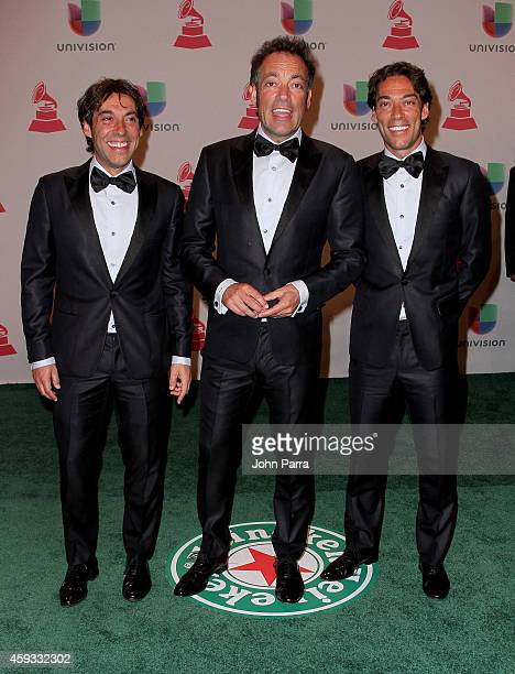 Musicians Raul Quijano Manuel Quijano and Oscar Quijano of Cafe Quijano attend the 15th annual Latin GRAMMY Awards at the MGM Grand Garden Arena on...