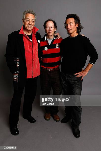 Musicians Ray Manzarek and Robby Krieger of The Doors and director Tom DiCillo pose for a portrait during the 2009 Sundance Film Festival held at the...