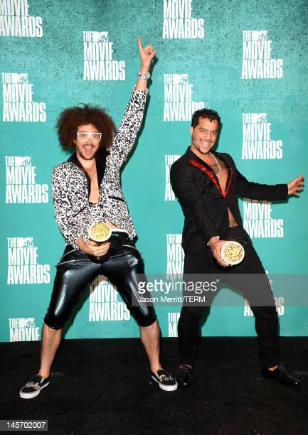 Musicians Red Foo and SkyBlu of LMFAO pose in the press room during the 2012 MTV Movie Awards held at Gibson Amphitheatre on June 3 2012 in Universal...