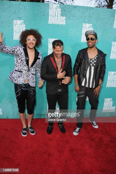 Musicians Red Foo SkyBlu and Goonrock of LMFAO arrive at the 2012 MTV Movie Awards at Gibson Amphitheatre on June 3 2012 in Universal City California