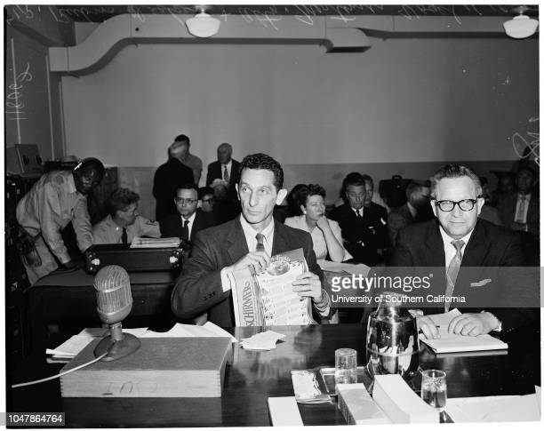 Musicians red hearing 16 April 1956 Rubin DeckerAttorney Mortimer VogelCaption slip reads ' Photographer Wyman Date Assignment UnAmerican activities...