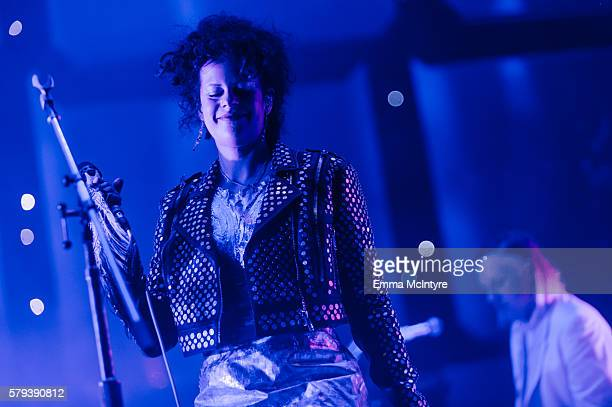 Musicians Regine Chassagne and Win Butler of 'Arcade Fire' perform on Day 2 of the WayHome Music and Arts Festival on July 23 2016 in OroMedonte...