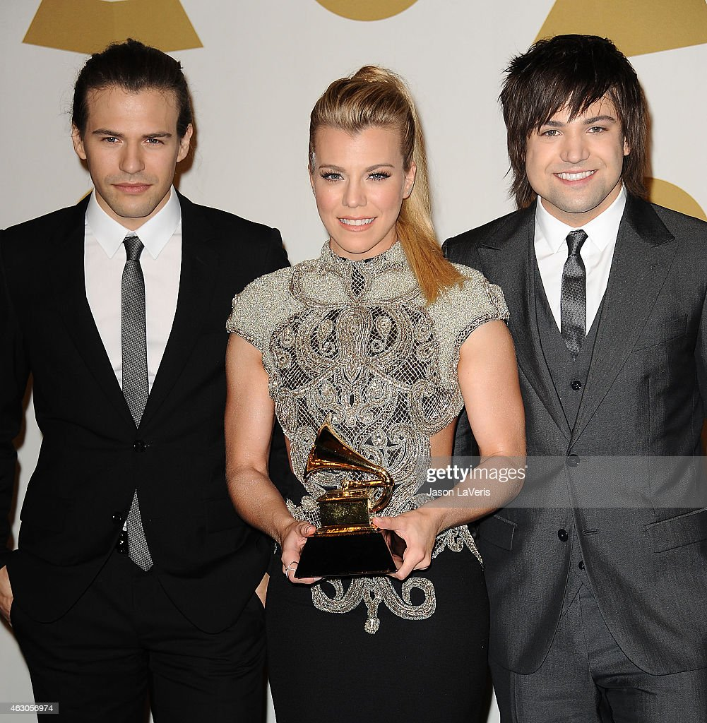 Musicians Reid Perry, Kimberly Perry and Neil Perry of The Band Perry pose in the press room at the 57th GRAMMY Awards at Staples Center on February 8, 2015 in Los Angeles, California.
