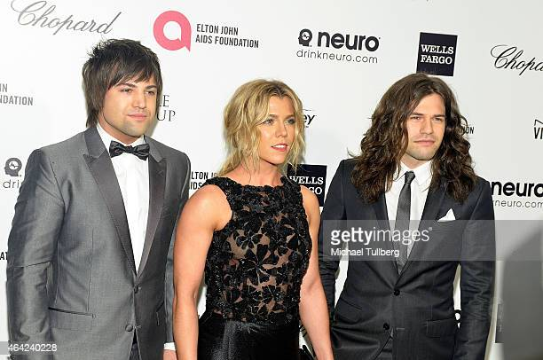 Musicians Reid Perry Kimberly Perry and Neil Perry of the band Perry attend at the 23rd Annual Elton John AIDS Foundation Academy Awards Viewing...
