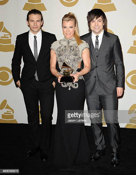 Musicians Reid Perry Kimberly Perry and NeilPerry of The Band Perry pose in the press room at the 57th GRAMMY Awards at Staples Center on February 8...
