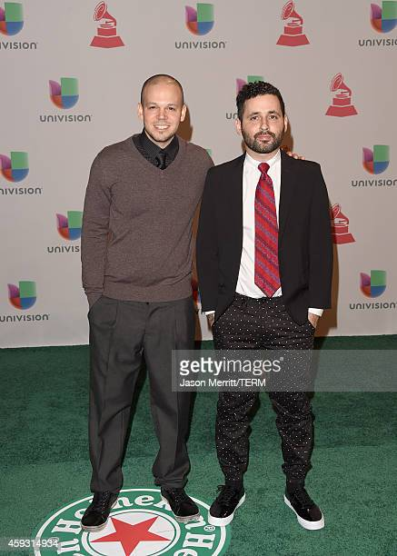 Musicians Rene Perez Joglar and Visitante of Calle 13 attend the 15th Annual Latin GRAMMY Awards at the MGM Grand Garden Arena on November 20 2014 in...