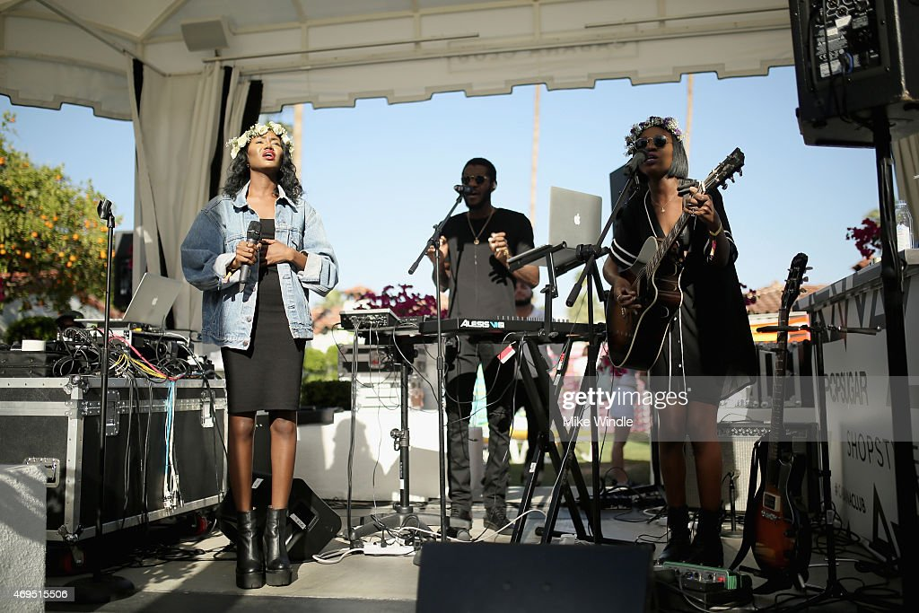 Musicians Rey Reynolds, Auston Reynolds and Jess Reynolds of James Davis perform during POPSUGAR + SHOPSTYLE'S Cabana Club Pool Parties - Day 2 at the Avalon Hotel on April 12, 2015 in Palm Springs, California.