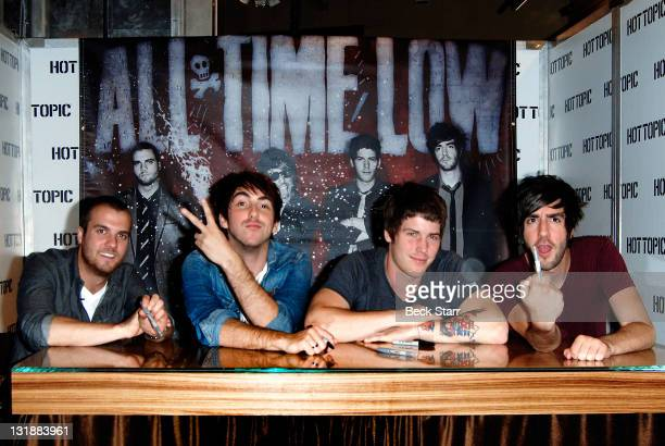 Musicians Rian Dawson Alex Gaskarth Zachary Merrick and Jack Barak 'All Time Low' InStore Performance And CD Signing For 'Dirty Work' At Hot Topic on...