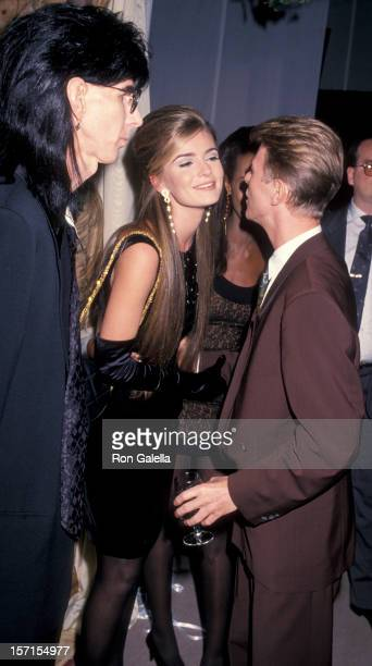 Musicians Ric Ocasek and David Bowie and model Paulina Porizkova attending 'CFDA Vogue 7th on Sale Fashion Benefit for AIDS' on November 29 1990 at...