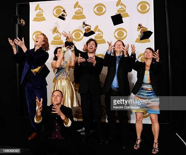 Musicians Richard Reed Parry Win Butler Regine Chassagne William Butler Jeremy Gara Tim Kingsbury and Sarah Neufeld of the band Arcade Fire winners...