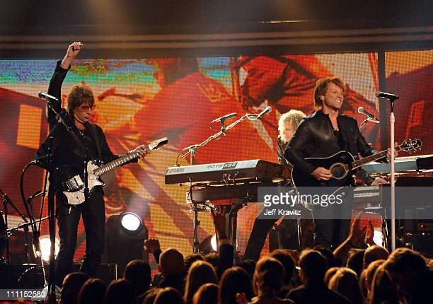 Musicians Richie Sambora and Jon Bon Jovi of the music group Bon Jovi perform onstage during the 52nd Annual GRAMMY Awards held at Staples Center on...
