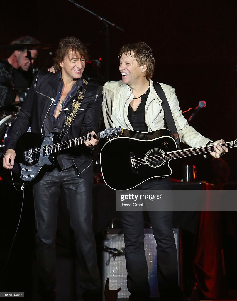 Musicians Richie Sambora and Jon Bon Jovi perfom during the MasterCard Priceless Los Angeles Presents GRAMMY Artists Revealed Featuring Bon Jovi at Paramount Studios on December 1, 2012 in Hollywood, California.