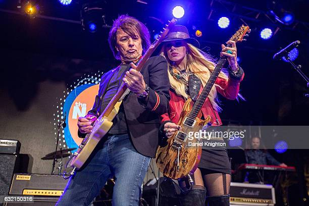 Musicians Richie Sambora and Orianthi of RSO perform on stage at The 2017 NAMM Show Day 1 on January 19 2017 in Anaheim California