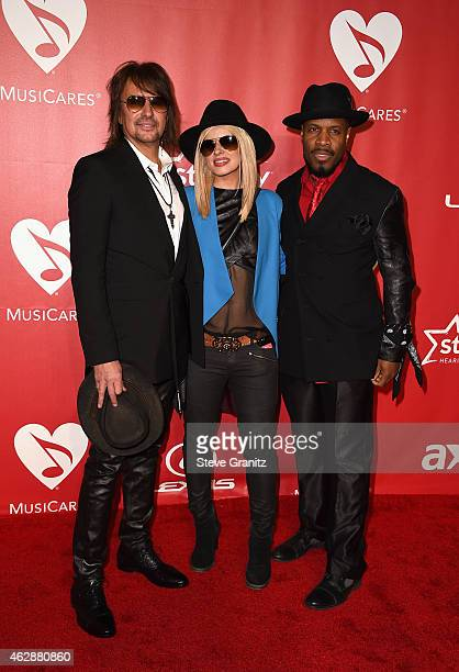 Musicians Richie Sambora, Orianthi and Michael Bearden attend the 25th anniversary MusiCares 2015 Person Of The Year Gala honoring Bob Dylan at the...