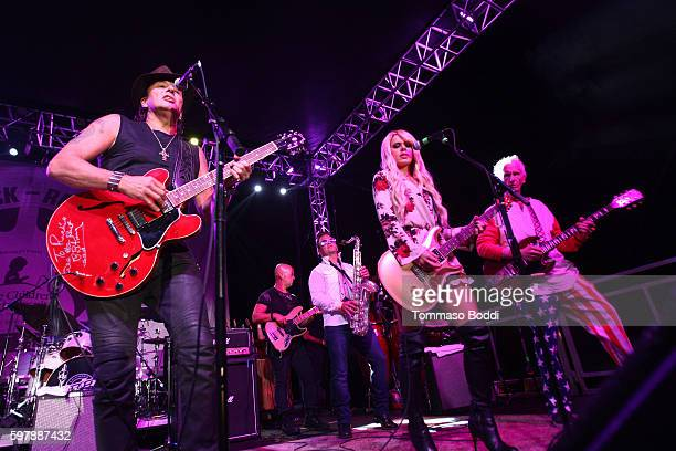 Musicians Richie Sambora Orianthi and Robby Krieger perform on stage during the 9th Annual Medlock Krieger Celebrity Invitational And All Star...