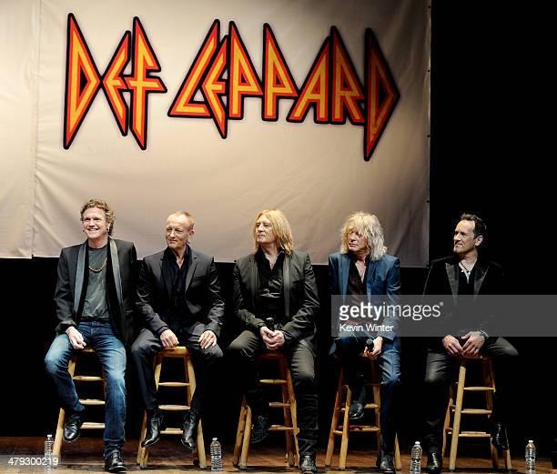 "Musicians Rick Allen, Phil Collen, Joe Elliott, Rick Savage and Vivian Campbell of Def Leppard announce the KISS and Def Leppard ""2014 Heroes Tour""..."