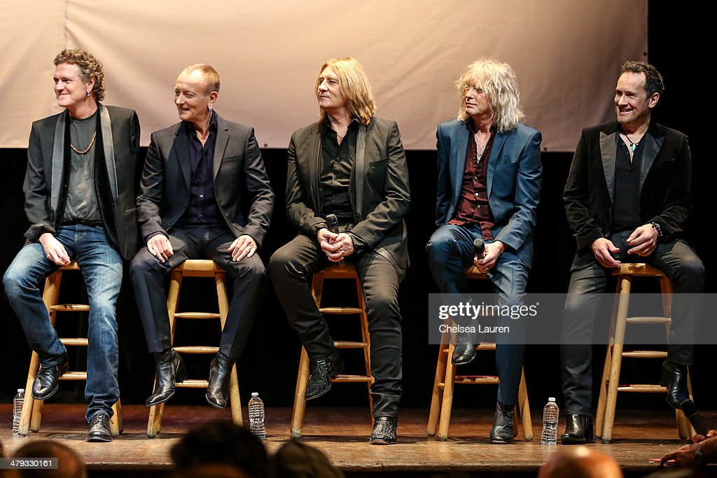 Musicians Rick Allen, Phil Collen, Joe Elliott, Rick Savage and Vivian Campbell of Def Leppard appear at a press conference to announce the KISS and Def Leppard '2014 Heroes Tour' at House of Blues on March 17, 2014 in West Hollywood, California.