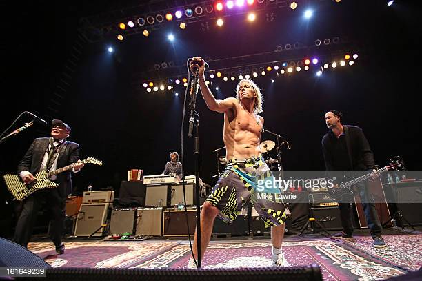 Musicians Rick Nielsen, Taylor Hawkins and Krist Novoselic of the Sound City Players performs at Hammerstein Ballroom on February 13, 2013 in New...