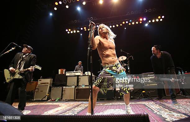 Musicians Rick Nielsen Taylor Hawkins and Krist Novoselic of the Sound City Players performs at Hammerstein Ballroom on February 13 2013 in New York...