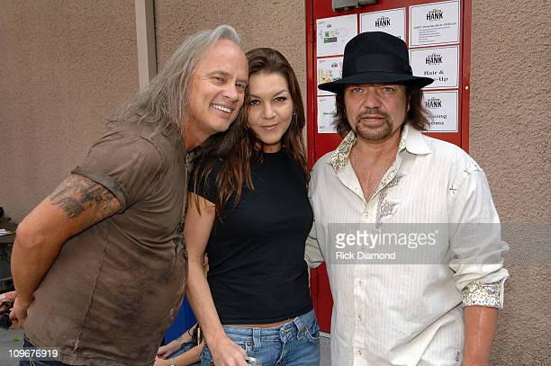 Musicians Rickey Medlocke Gretchen Wilson and Gary Rossington backstage during CMT Giants honoring Hank Williams Jr at the Gibson Amphitheatre on...