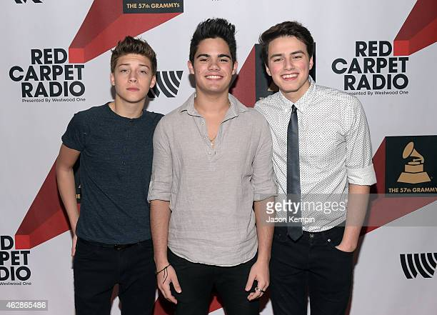 Musicians Ricky Garcia Emery Kelly and Liam Attridge of the pop band Forever in Your Mind attends Red Carpet Radio Backstage at the GRAMMYs presented...