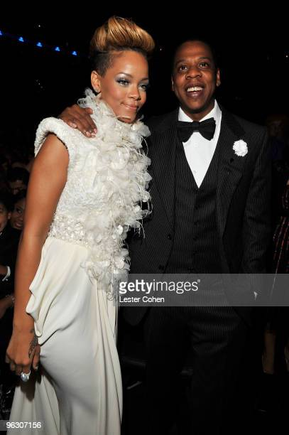 Musicians Rihanna and Jay-Z attend the 52nd Annual GRAMMY Awards held at Staples Center on January 31, 2010 in Los Angeles, California.