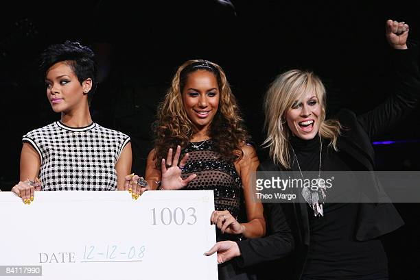 Musicians Rihanna Leona Lewis and Natasha Bedingfield speak on stage during Z100's Jingle Ball 2008 Presented by HM at Madison Square Garden on...