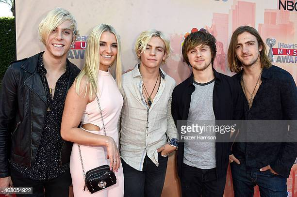 Musicians Riker Lynch Rydel Lynch Ross Lynch Ellington Ratliff and Rocky Lynch of R5 attend the 2015 iHeartRadio Music Awards which broadcasted live...