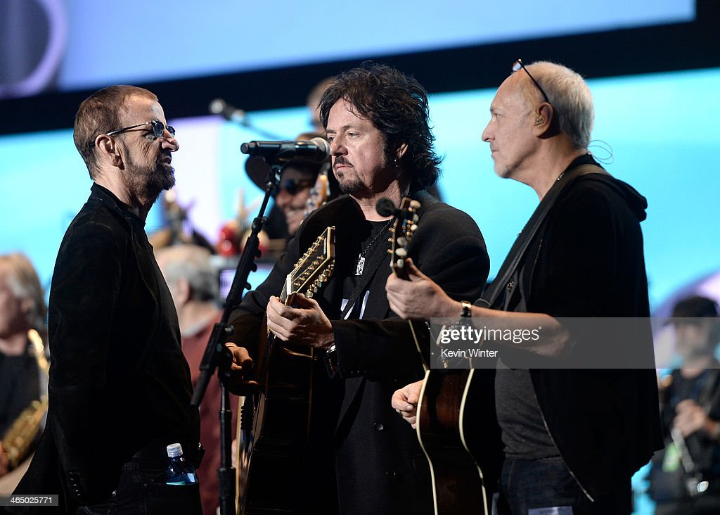 Musicians Ringo Starr, Steve Lukather and Peter Frampton rehearse onstage during the 56th GRAMMY Awards at Staples Center on January 25, 2014 in Los Angeles, California.