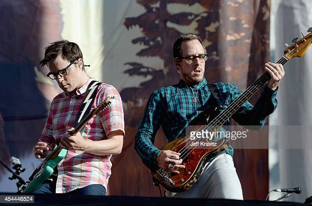 Musicians Rivers Cuomo and Scott Shriner of Weezer perform on the Marilyn Stage during day 2 of the 2014 Budweiser Made in America Festival at Los...