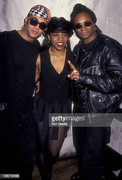 Musicians Rob Pilatus and Fab Morvan of Milli Vanilli and singer Chantay attend Milli Vanilli Performance on April 7 1993 at Limelight in New York...