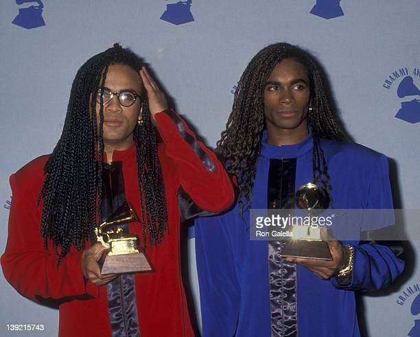 Musicians Rob Pilatus and Fab Morvan of Milli Vanilli attend 32nd Annual Grammy Awards on February 21 1990 at the Shrine Auditorium in Los Angeles...