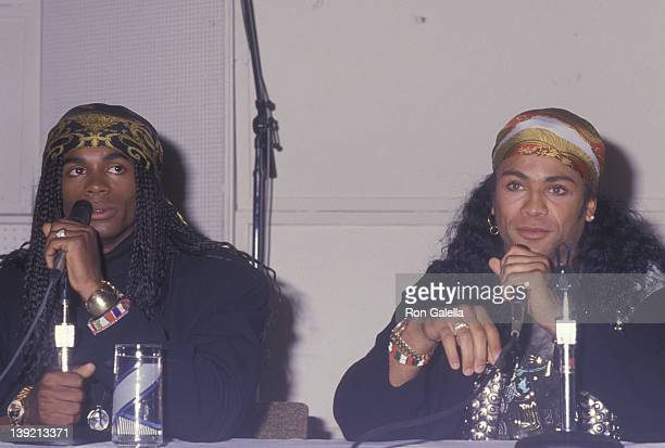Musicians Rob Pilatus and Fab Morvan of Milli Vanilli attend Milli Vanilli Press Conference on November 20 1990 at Ocean Way Recording Studios in...