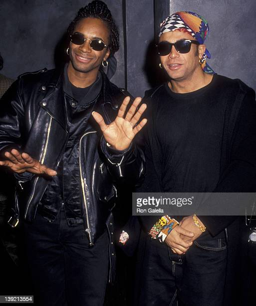 Musicians Rob Pilatus and Fab Morvan of Milli Vanilli attend Milli Vanilli Performance on April 7 1993 at Limelight in New York City