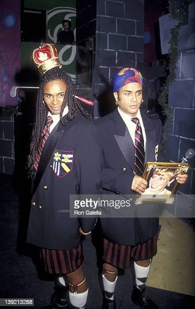 Musicians Rob Pilatus and Fab Morvan of Milli Vanilli attend Community Research Initiative on AIDS Benefit on April 8 1993 at Club USA in New York...