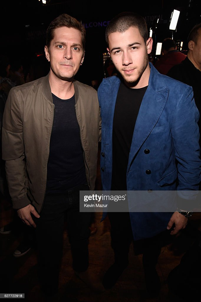 Musicians Rob Thoman and Nick Jonas attend the 2nd Annual National Concert Day presented by Live Nation at Irving Plaza on May 3, 2016 in New York City.