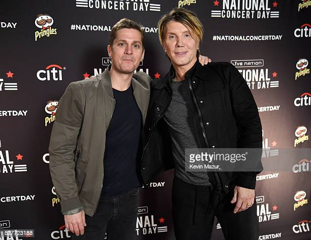 Musicians Rob Thomas and John Rzeznik attend the 2nd Annual National Concert Day presented by Live Nation at Irving Plaza on May 3 2016 in New York...