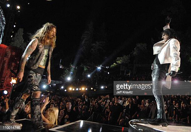 Musicians Rob Zombie and Alice Cooper perform during the 2007 Spike TV Scream Awards at The Greek Theater on October 19 2007 in Los Angeles California