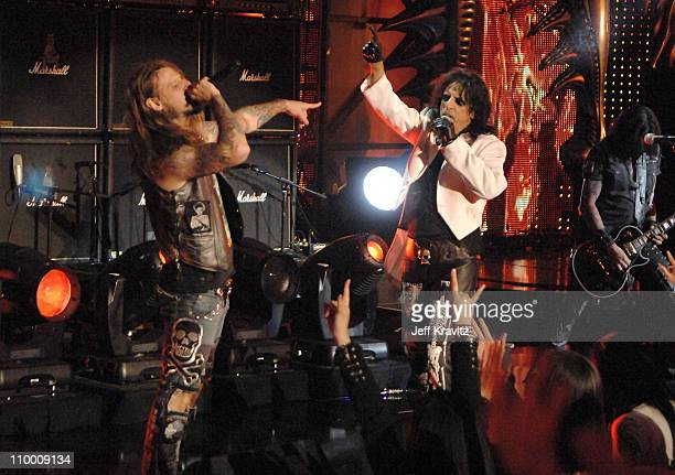 Musicians Rob Zombie and Alice Cooper performs during the 2007 Spike TV Scream Awards at The Greek Theater on October 19 2007 in Los Angeles...